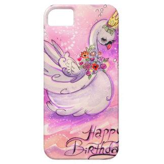 Capa Barely There Para iPhone 5 Aguarela da cisne do aniversário