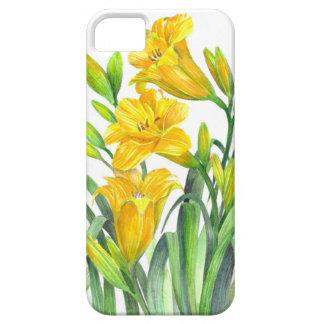 Capa Barely There Para iPhone 5 Arte floral amarela dos lírios de dia da aguarela