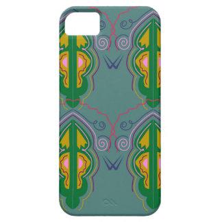 Capa Barely There Para iPhone 5 Azul luxuoso do verde dos ornamento