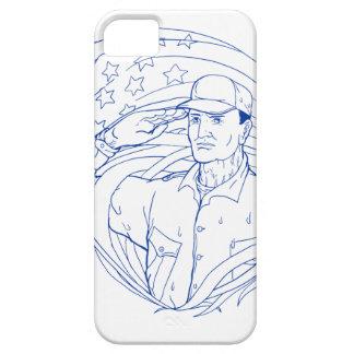 Capa Barely There Para iPhone 5 Bandeira americana Ukiyo-e da saudação do soldado