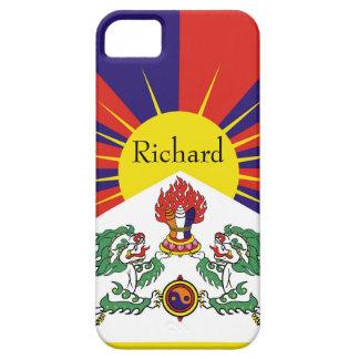 Capa Barely There Para iPhone 5 Bandeira da bandeira do leão de Tibet ou de neve