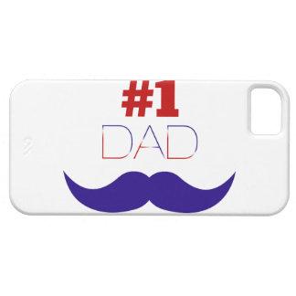 Capa Barely There Para iPhone 5 Bigode branco do pai #1 e azul vermelho - número