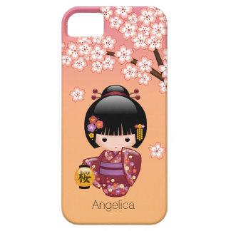 Capa Barely There Para iPhone 5 Boneca de Sakura Kokeshi - menina de gueixa no