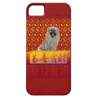Capa Barely There Para iPhone 5 Cão de Pekingese no ano novo chinês feliz