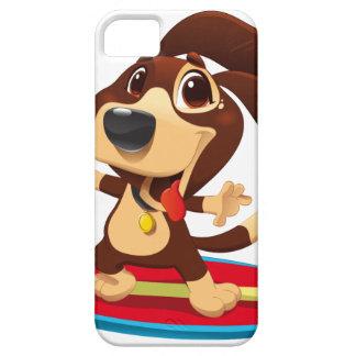 Capa Barely There Para iPhone 5 Cão engraçado bonito em uma ilustração da prancha