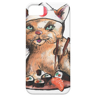 Capa Barely There Para iPhone 5 cat eating sushi