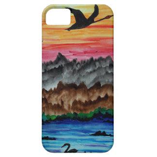 Capa Barely There Para iPhone 5 Cisnes pretas no por do sol