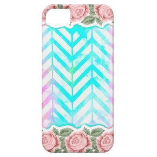 Capa Barely There Para iPhone 5 Cor-de-rosa floral e azul do monograma elegante