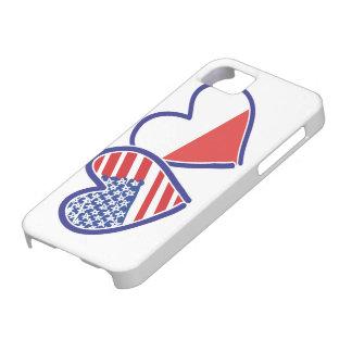 Capa Barely There Para iPhone 5 Corações da bandeira do Polônia dos EUA