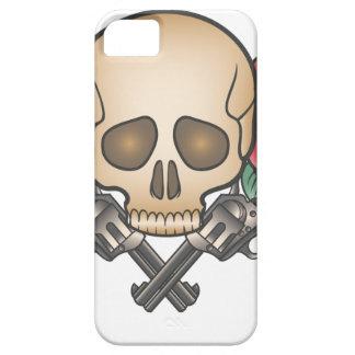 Capa Barely There Para iPhone 5 crânio com armas e flores do vintage