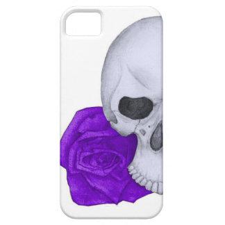Capa Barely There Para iPhone 5 Crânio e rosas roxos