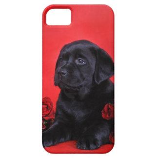 Capa Barely There Para iPhone 5 Filhote de cachorro e rosas de Labrador