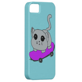 Capa Barely There Para iPhone 5 gato do skate, luz - caixa azul de Iphone 5