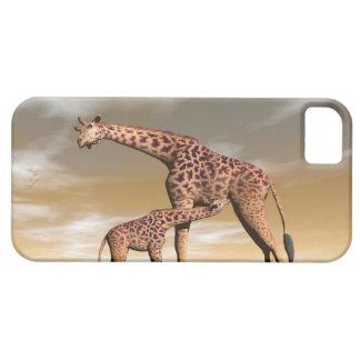 Capa Barely There Para iPhone 5 Girafa da mãe e do bebê - 3D rendem