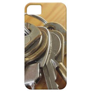 Capa Barely There Para iPhone 5 Grupo de chaves gastas da casa na mesa de madeira