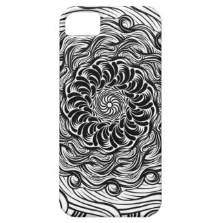Capa Barely There Para iPhone 5 Ilusão óptica do Doodle ornamentado do zen preto e