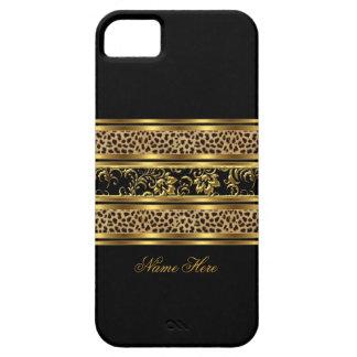 Capa Barely There Para iPhone 5 leopardo elegante elegante do preto do ouro do