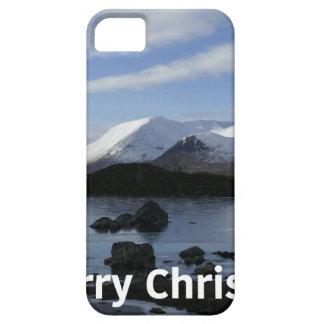 Capa Barely There Para iPhone 5 Neve do Natal na montagem preta, Scotland