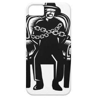 Capa Barely There Para iPhone 5 O homem amordaçou acorrentado ao Woodcut grande da