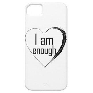 Capa Barely There Para iPhone 5 o preto emplumou-se o coração 'que eu sou enough