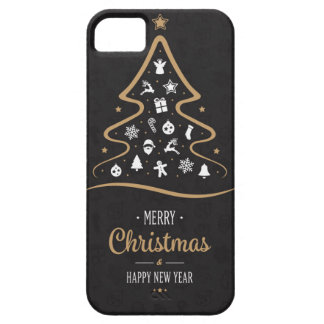 Capa Barely There Para iPhone 5 Ouro preto superior elegante do Natal