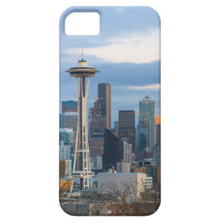 Capa Barely There Para iPhone 5 Panorama da noite da skyline da cidade de Seattle