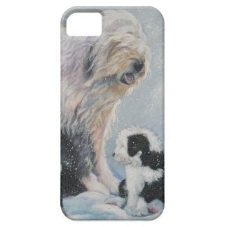 Capa Barely There Para iPhone 5 Pintura inglesa velha do SheepDog do inverno