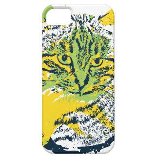Capa Barely There Para iPhone 5 Retrato bonito do gato do Grunge