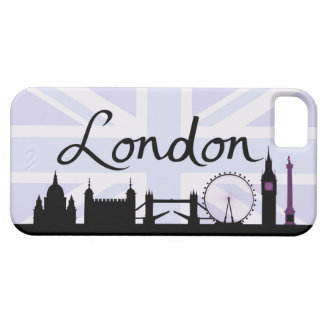 Capa Barely There Para iPhone 5 Roteiro de Londres no céu de Union Jack & locais