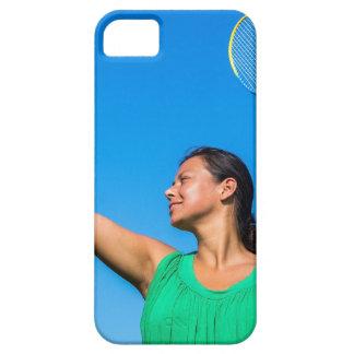 Capa Barely There Para iPhone 5 Saque colombiano da mulher com raquete de