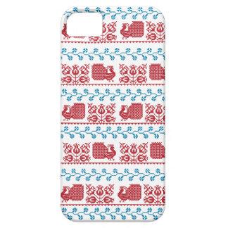 Capa Barely There Para iPhone 5 Teste padrão nórdico do bordado (pavão e flores)
