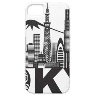 Capa Barely There Para iPhone 5 Texto da skyline da cidade de Tokyo preto e branco