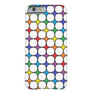 Capa Barely There Para iPhone 6 Arco-íris esboçado preto estrelas de 4 pontos