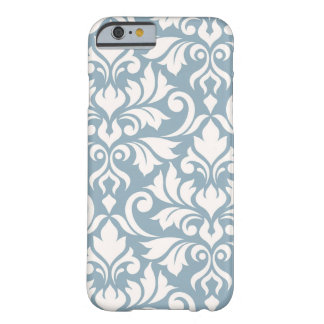 Capa Barely There Para iPhone 6 Arte que do damasco do Flourish eu desnato no azul