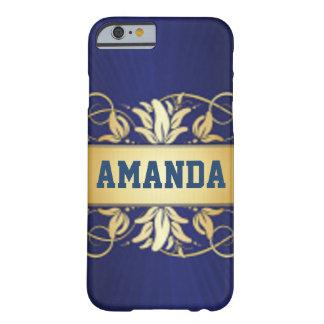 Capa Barely There Para iPhone 6 Azuis marinhos & ouro elegante