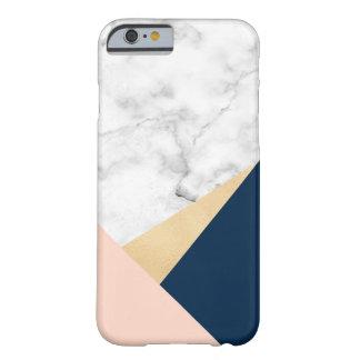 Capa Barely There Para iPhone 6 bloco azul da cor do pêssego de mármore branco