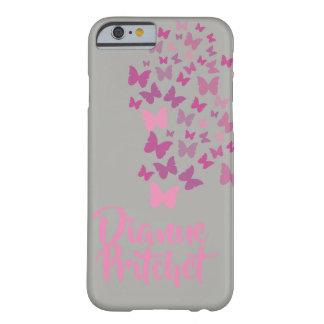 Capa Barely There Para iPhone 6 Borboleta cinzenta e cor-de-rosa personalizada