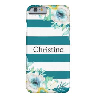 Capa Barely There Para iPhone 6 Branco à moda da cerceta da aguarela floral bonito