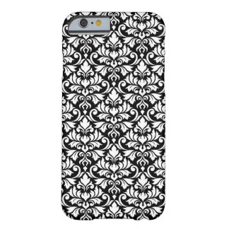 Capa Barely There Para iPhone 6 Branco da cor damasco do Flourish no preto