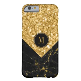 Capa Barely There Para iPhone 6 Brilho preto moderno do mármore & do ouro moderno