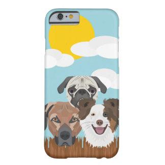 Capa Barely There Para iPhone 6 Cães afortunados da ilustração em uma cerca de