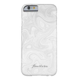 Capa Barely There Para iPhone 6 Caixa de mármore líquida Cinza-Branca moderna