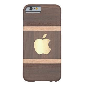 Capa Barely There Para iPhone 6 Caixa embutida madeira lustrada do marrom escuro