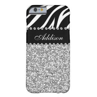 Capa Barely There Para iPhone 6 Caixa feminino do cristal de rocha preto da zebra