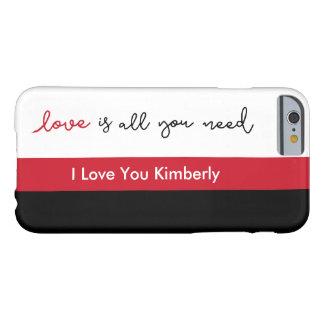 Capa Barely There Para iPhone 6 Caso feito sob encomenda da mensagem do amor