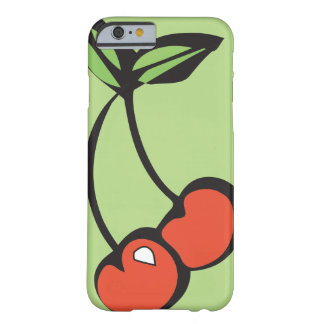 Capa Barely There Para iPhone 6 Cerejas vermelhas brilhantes com o iPhone verde