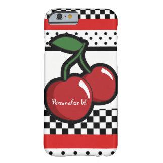 Capa Barely There Para iPhone 6 Cerejas vermelhas pretas & costume branco