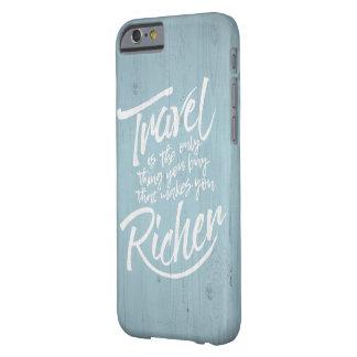 Capa Barely There Para iPhone 6 Citações de viagem - design de madeira rústico