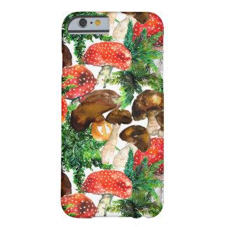 Capa Barely There Para iPhone 6 Cogumelos da aguarela e teste padrão verde da