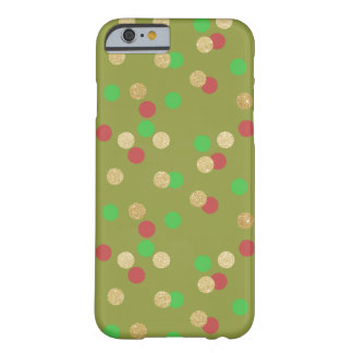 Capa Barely There Para iPhone 6 confetes verdes vermelhos do Natal do brilho